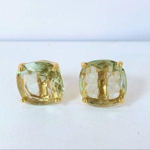 Green Post Earrings Gold Tone